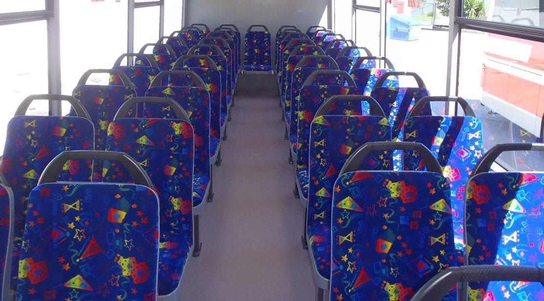 Interior seats charter bus
