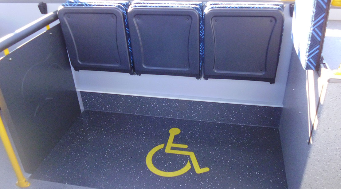 wheel chair location on a city bus
